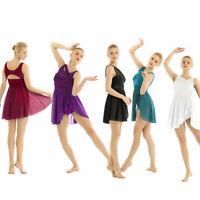 Women Ballet Dance Costume Lyrical Dress Illusion Chiffon Flowy High-Low Skirt