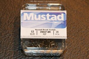 25 Pack Mustad 35647BR Bronze Size 12 Round Bend Treble Hooks Trout