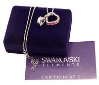 Collana donna oro bianco Swarovski Elements originale G4L cristalli doppio cuore