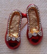 NEW Wizard of Oz Ruby Slippers Red Enamelled with Crystals Stone Pin