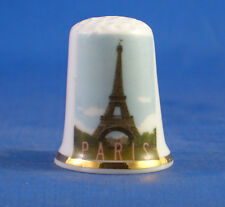 Birchcroft China Thimble -- Travel Poster Series - Paris - Free Dome Gift Box