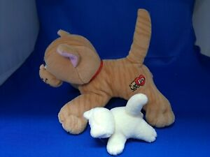 Vintage Tonka Pound Purries Stripped Tabby Red Collar Newborn w/ White Kitten