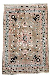 Indo silk and wool handmade rug oriental carpet in light blue 4.9 x 3 FT