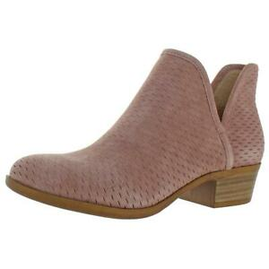 Lucky Brand Women's Baley Stacked Heel Ankle Bootie Pink Size 8