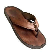 Olukai Men's Ohana Leather Flip Flop Sandals Size 11 Brown Comfort Water
