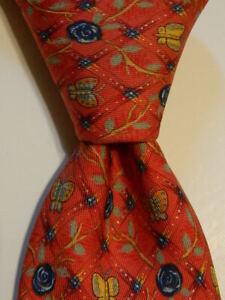 HERMES 7744 OA Men's Silk Necktie FRANCE Luxury FLORAL BUTTERFLIES Red/Blue EUC