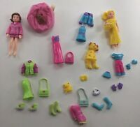 Polly Pocket Lot Of 2 Dolls ~ Clothing Accessories