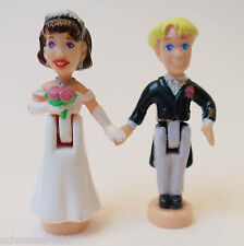 Mini Polly Pocket Brautpaar - Braut mit Rosenstrauß - ER mit Frack .!
