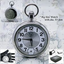 Silver Polish Antique Men Fashion Pocket Watch Small Second Chain Gift Box P66