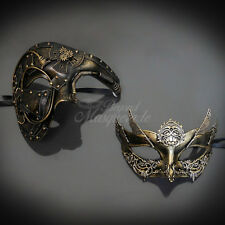 BeyondMasquerade Couples Masquerade Mask, Gold Steampunk Masquerade Ball mask