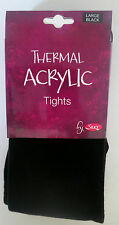 Black Ladies Thermal Acrylic Opaque Tights Extra Thick Super Soft Comfy Snug L
