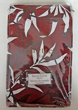 FRETTE at Home Chinoiserie QUEEN Duvet Cover Bordeaux 100% Cotton Portugal NEW