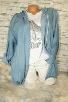 Italy Long Jacke Gr. 36 8 40 42 Jeansjacke Kapuze blogger Print Jeans Strass