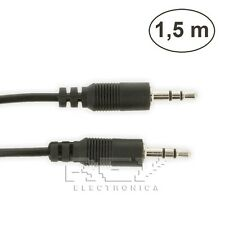 CABLE Doble MINI JACK Macho 3,5mm Audio Estéreo 1,5m Negro Nuevo v317