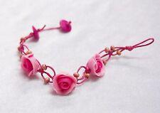 "BRACELET PINK ROSE CLAY BRIDAL WEDDING BOHEMIAN HIPPIE FLOWER ADJUSTABLE 7.5"""