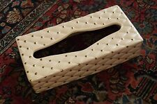 "CERAMIC TISSUE BOX COVER QUILTED CREAMY PALE PINK GOLD DOTSON RECTANGLE 2.5"" H"