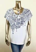 CHICO'S $70 NEW WHITE-BLUE  DOLMAN SHORT-SLV TOP SIZE 3 (XL)