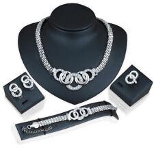 Women's Bridal Crystal Silver Necklace Earrings Bracelet Ring Jewelry 4 Pcs Set