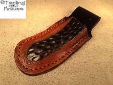 Custom USA Hand Tooled Hand Crafted Leather Folding Pocket Knife Sheath
