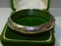 """Vtg CIAM Etched Wide Sterling Silver Hinged 7"""" Bangle Bracelet 25.3 grams 10j 37"""