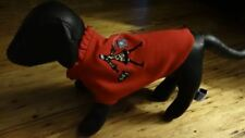 Red Fleece Dog Coat With Woman Walking A Poodle Small Size Designer Dog Clothes