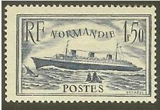 "FRANCE STAMP TIMBRE N° 299 "" PAQUEBOT NORMANDIE 1F50 BLEU "" NEUF xx LUXE"