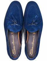 Santoni Tassel Loafer in napoliblau aus Veloursleder /// RegEUR520