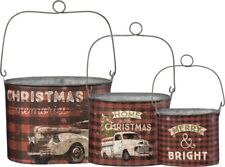 Stacking CHRISTMAS TIN BUCKETS, Set of 3, by Primitives by Kathy