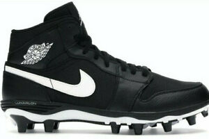 Mens Nike Air Jordan 1 Mid Td American Football Cleats Black White UK 10