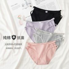 741  Women's Breathable Cotton Underwear Ribbed Briefs Mid-waist M-XL