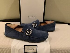 AUTHENTIC GUCCI MARMONT BLUE SUEDE DRIVERS LOAFERS GG 7 (Fits USA SZ 8)RARE
