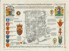 "Map Ancient City of Chester The ""Antler"" Series Heraldic Postcard Coat of Arms"