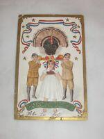 Vintage Thanksgiving Postcard Embossed Patriotic Children W/Turkey & Food 1900s