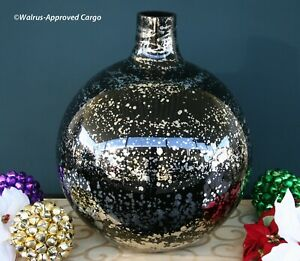 POTTERY BARN BLACK MERCURY GLASS VASE –NIB– PERFECT FOR YEAR-ROUND ELEGANCE!