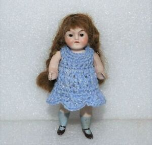 """ANTIQUE ALL BISQUE Glass Eyes Jointed GERMAN 3 5/8"""" DOLLHOUSE MIGNONETTE DOLL"""