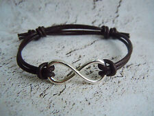 Leather Cuff Bracelet, Infinity Charm, Brown Leather Bracelet, Birthday Gift