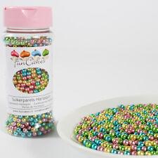 (5,61€/100g) Funcakes Zuckerperlen Metallic Mix Harlequin 80g pink/blau/grün