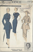 "1950s Vintage Sewing Pattern B34"" JACKET, DRESS & SCARF (R8) By HANNAH TROY"