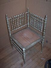 1800-1899 - Victorian Corner Chair, gilt-green, caned seat - unique shape!!