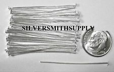 """Silver plated steel jewelry head pins 50 pc lot 1 5/8"""" 40mm  20 gauge  fhs015"""