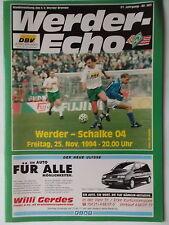 Programm BL 1994/95 Werder Bremen - FC Schalke 04