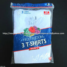 FRUIT OF THE LOOM 3-PACK MEN'S CREWNECK WHITE T-SHIRTS SMALL BNEW