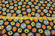 Thomas the Tank Fast Friends Round Patch Allover Cotton Fabric Navy Blue