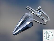 Clear Quartz GEMSTONE Point Pendulum Dowsing Crystal Dowser Chakra Healing