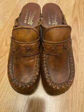 Vintage Brown Leather and Wood Clogs Womens 8 Abhadabbas Brazil