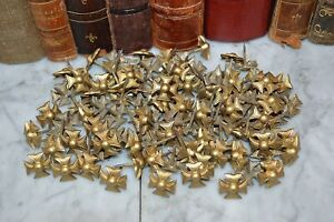 One Vintage Set of 10 French Brass Maltese Cross Upholstery Tacks Nails