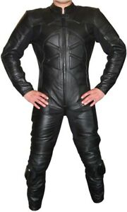 """Leather Motorcycle Suit CHAOS 1-piece Black - 4XL, 50"""" chest/32"""" leg - CLEARANCE"""