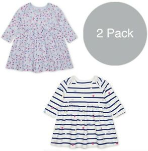 MOTHERCARE Baby Girls Dress 2 Pack Floral Cotton Long Sleeve Jersey Dresses BNWT