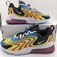Nike Air Max 270 React ENG CD0113-400 Yellow Blue Black White Mens Running Shoes