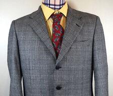 Belvest Sport Coat 42R Men Gray Wool Houndstooth Glen Plaid Italy Jacket